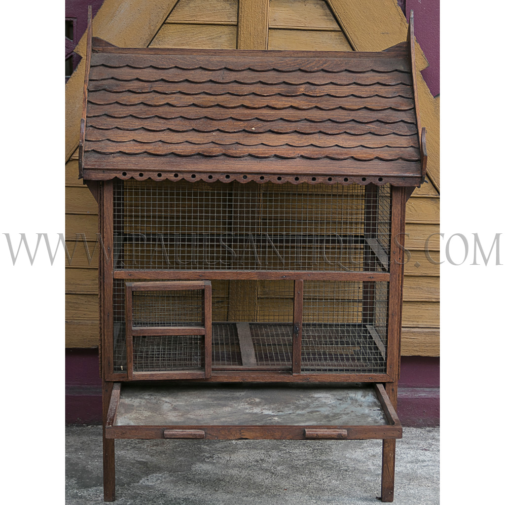 Old Thai Teak Bird Cage In The Shape Of A Thai Traditional