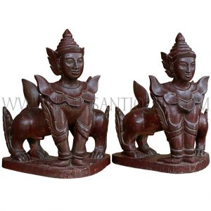 Rare Pair of Burmese Lacquered Teak Manussiha (Double-Bodied Sphinx)