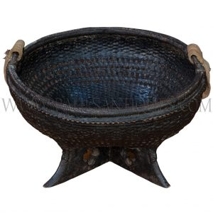 Black Lacquered Laotian Handwoven Hanging Bamboo Basket on Wooden X-base Stand