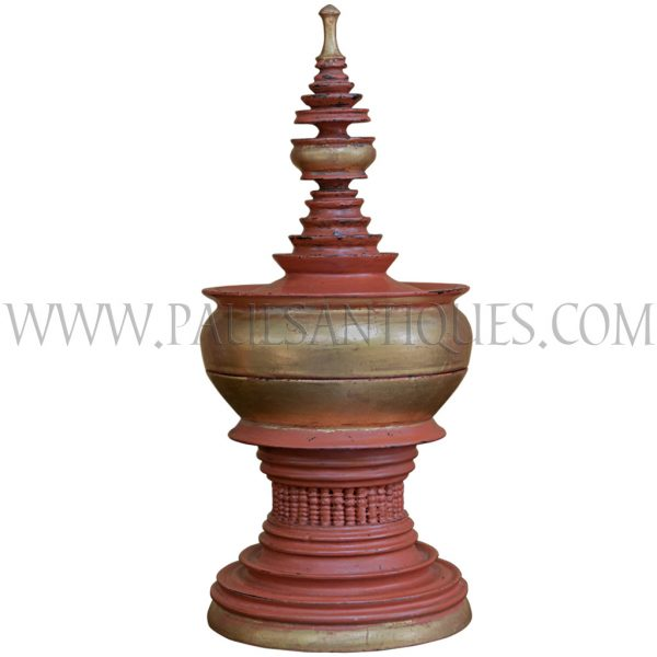 Small Burmese Red Gilded Lacquered Offering Vessel