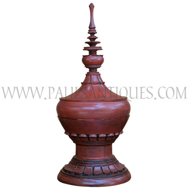 Burmese Ochre Lacquered Offering Vessel with Floral Motif Base