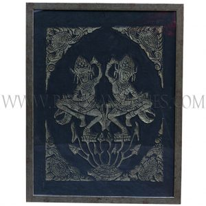 Framed Gold on Black Cambodian Angkor Temple Relief Rubbing of Pair of Dancing Yakshinis on Lotus Pond