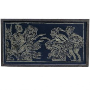 Framed Gold on Black Cambodian Angkor Temple Relief Rubbing of Village Cock Fight Scene
