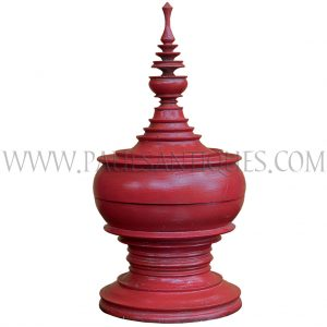 Red Burmese Lacquered Wedding Bowl/Offering Vessel