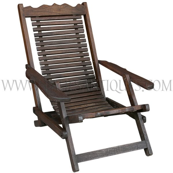 Thai Teak Reclining Slated Folding Lounge Chair