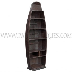 Thai Teak Floating Market Boat Repurposed as a Book / Display Shelf