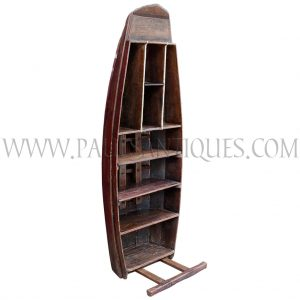 Thai Teak Floating Market Boat Repurposed as a Book/Display Shelf