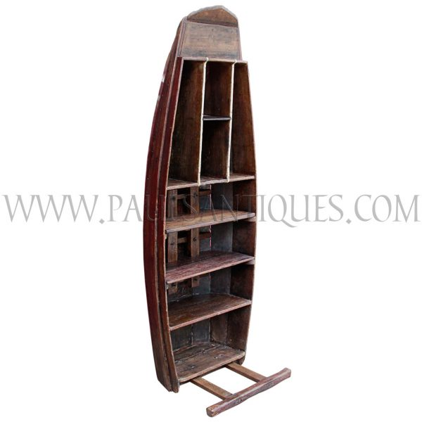 Thai Teak Floating Market Boat Repurposed as a Book/Display Shelf