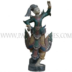 Burmese Painted Teak Carving of Court Dancer