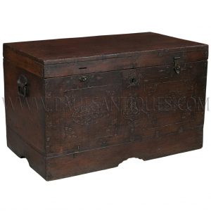 Antique Burmese Teak with Brass Inlay Design Wedding Chest
