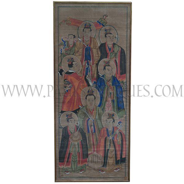 """Hokkien Chinese Taoist Painting of Seven Haloed """"Northern Dipper"""" Deities"""