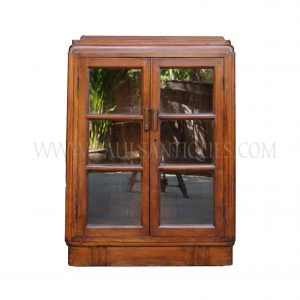 Rare Burmese British Colonial Teak Art-Deco Book Cabinet