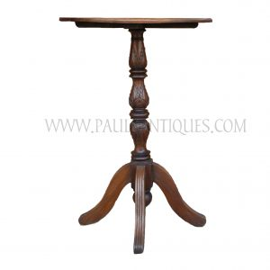 Burmese Tall Teak Pedestal Bank / Bar Table Carved with Lotus Bud Motif