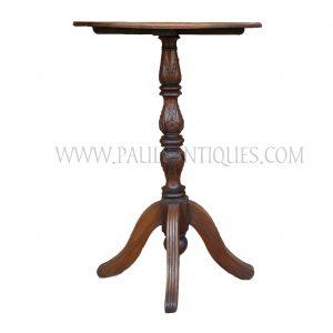 Burmese Tall Teak Pedestal Bank / Bar Table Carved with Lotus Bud Motif