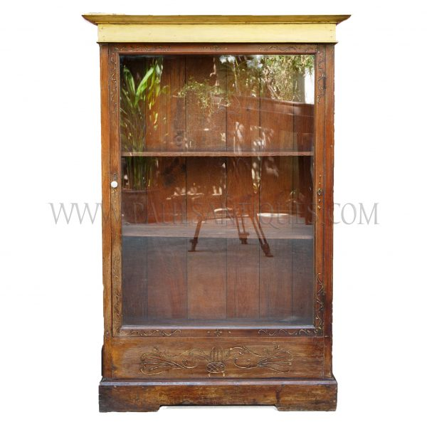 Unusual Thai Teak Bookcase with Small Side Drawers and Golden Painted Top, c. 1980