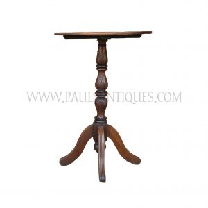 Colonial Burmese Teak Bar Table with Lotus Bud Motif Tripod Base