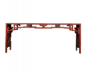 Chinese Wooden Fretwork Altar Table Inlaid with Carved Panels depicting Various Scenes