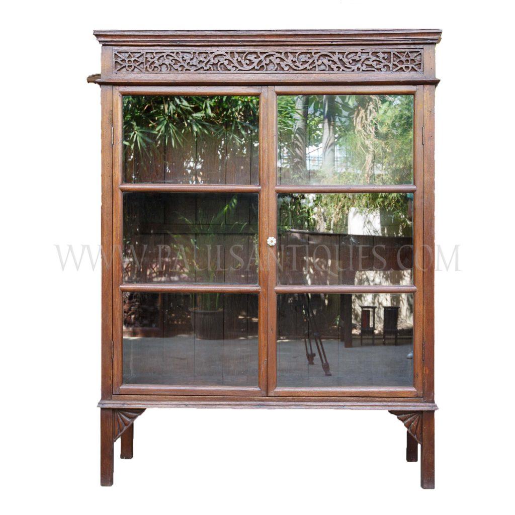 Rare Northern Thai Lanna Teak Display Cabinet With Carved Fretwork  Pediment, C. 1950