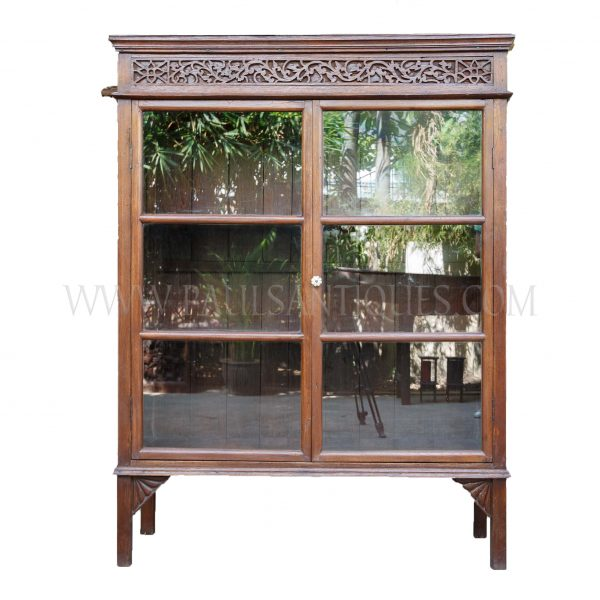 Rare Northern Thai Lanna Teak Display Cabinet with Carved Fretwork Pediment, c. 1950
