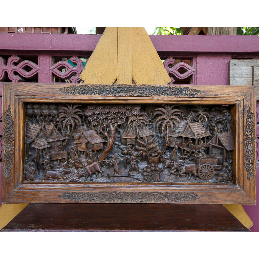 Lanna thai teak fine detailed relief carving of traditional