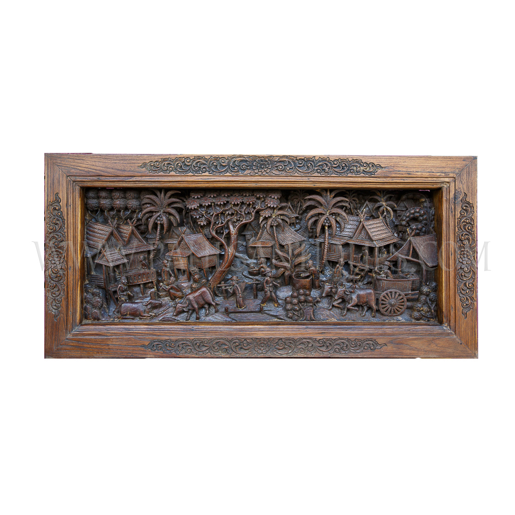 Lanna thai teak fine detailed relief carving of