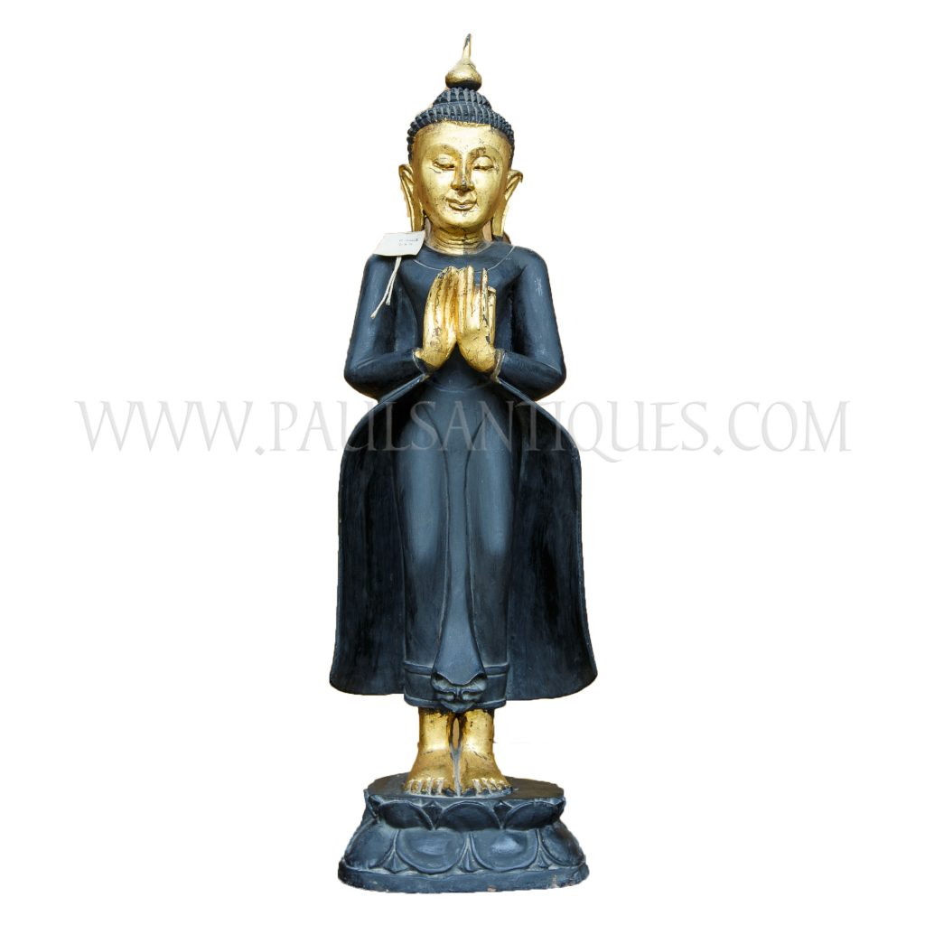 Burmese black and gold wooden buddha standing on lotus flower base burmese carved black and gold wooden buddha statue standing on lotus flower base with hands in izmirmasajfo