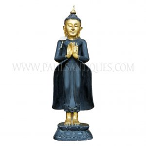 Burmese Carved Black and Gold Wooden Buddha Statue Standing on Lotus Flower Base with Hands in Teaching Mudra, c. 1940