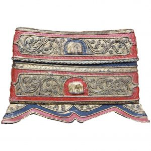 "Burmese Mandalay Red and Gold ""Thayo"" Lacquered Pillow Box with Elephant Motif and Inner Tray, c. 1980"