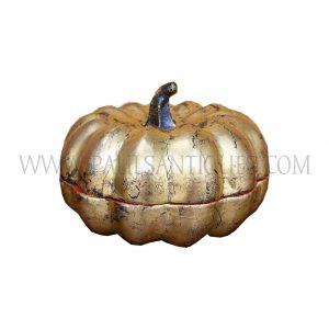Burmese (Mandalay) Gold on Red Lacquer Pumpkin Gourd Box