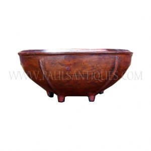 Thai Red Lacquered Hand-woven Footed Bowl, c. 1990