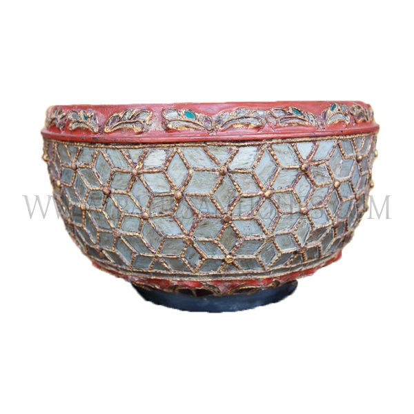 Burmese Mandalay Lacquered Coiled Bamboo Bowl with Mosaic Cut Glass, c. 1970