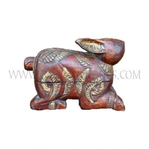 Cambodian Carved Red and Gold Wooden Rabbit Betel Box, c. early 1990s