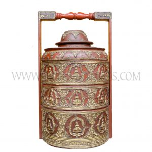 Burmese Mandalay Teak and Coiled Bamboo Thayo Lacquered Tiffin/Pinto Tiered Food Carrier with Sitting Buddha Motif, c. 1970