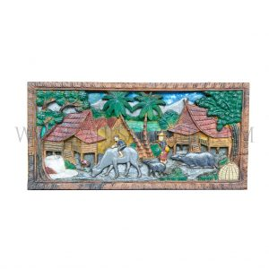 Balinese Indonesian Painted Woodcarving of Village Scene with Rice Fields, Buffalos, and Farmers, c. 2000