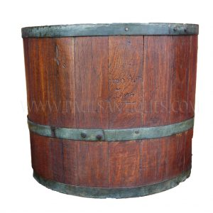 "Thai Teak Marked ""20 Liter Royal Measure"" Rice Measure with Original Iron Fittings, c. 1960"
