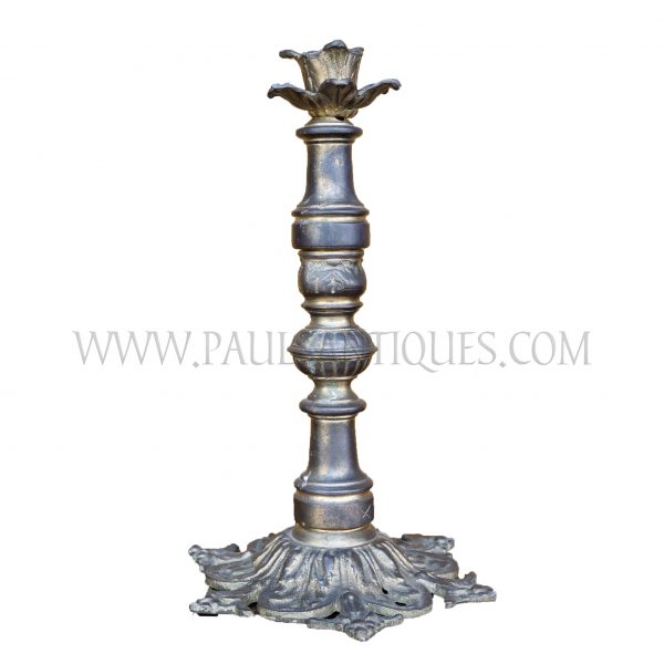 Burmese Sculpted Solid Brass Reproduction British Colonial Foliage Candlestick, c. early 1990s