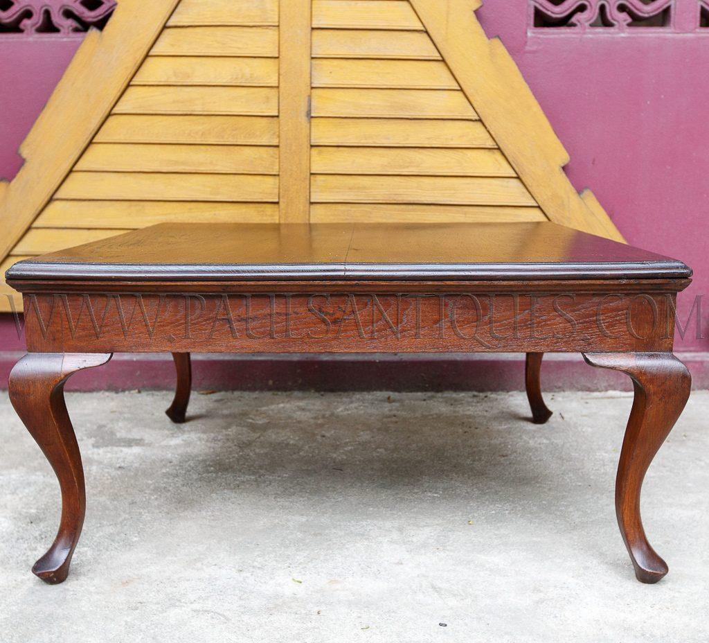 Burmese British Colonial Teak Cabriole Leg Coffee Table, C