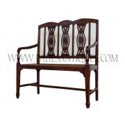 French Teak and Rattan Colonial Settee