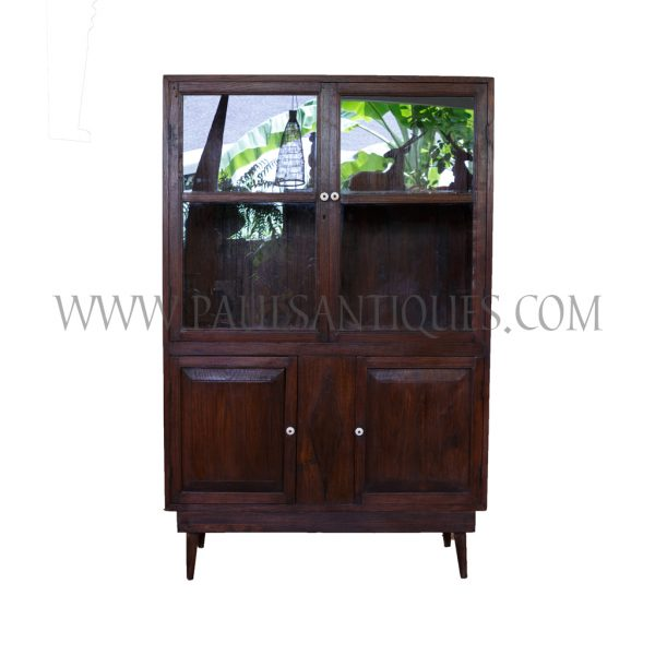 Northern Thai Lanna Teak Display Cabinet with Diamond Motif
