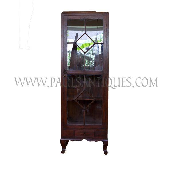 Burmese Tall Teak and Glass Display Cabinet with Lighting