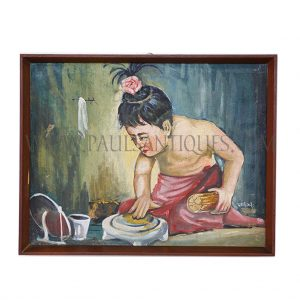 Burmese Oil Painting on Canvas in Teak Frame of Boy Preparing Tanaka