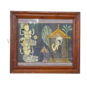 Traditional Lanna Thai Buddhist Painting on Cloth in Original Teak Frame
