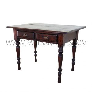 Burmese Colonial Two-Drawer Teak Desk with Turned Legs