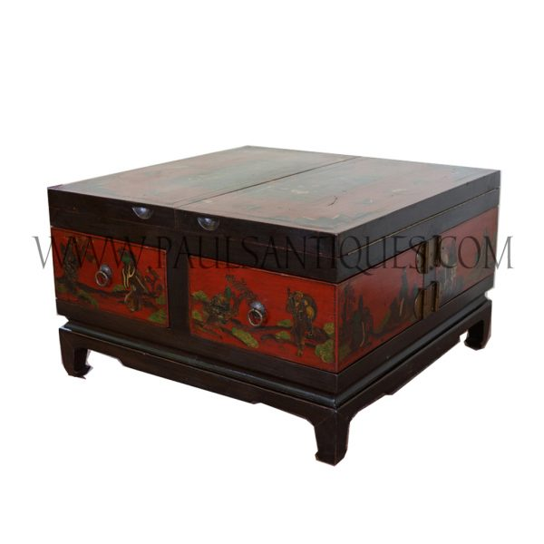 Chinese Wood and Brass Painted Extendable Coffee Table