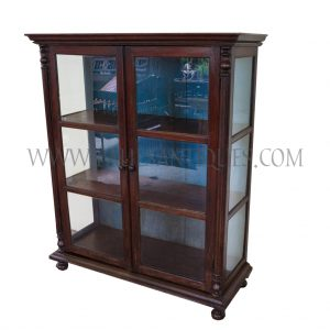 Burmese Colonial Teak and Glass Display Cabinet with Blue Wash Back