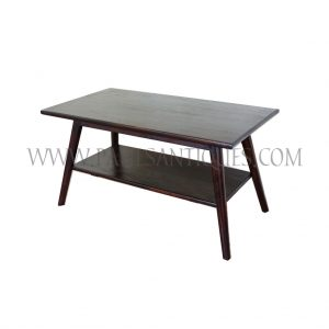 Burmese Colonial Art-Deco Teak and Rattan Coffee Table