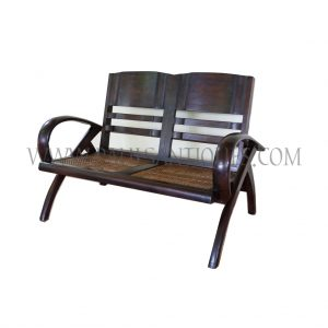 British Colonial Burmese Teak and Rattan Art-Deco Settee