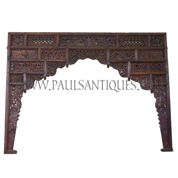 Javanese Indonesian Teak Lattice Entryway Carving