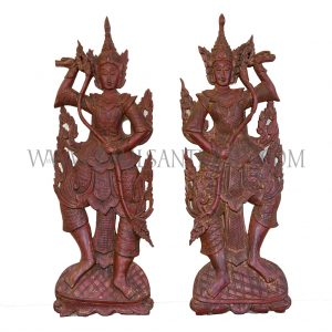 Pair of Lanna Thai Teak Carved Wall Hangings of Royal Court Dancers