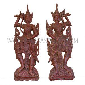 Pair of Lanna Thai Teak Carved Wall Hangings of Royal Court Dancers